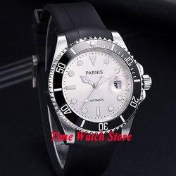 Parnis 40mm Miyota 8215 5ATM automatyczny męski zegarek biała tarcza luminous szafirowe szkło czarna ceramiczna ramka szkiełka zegarka waterproo|watch watch|watches watch watchwatch automatic -