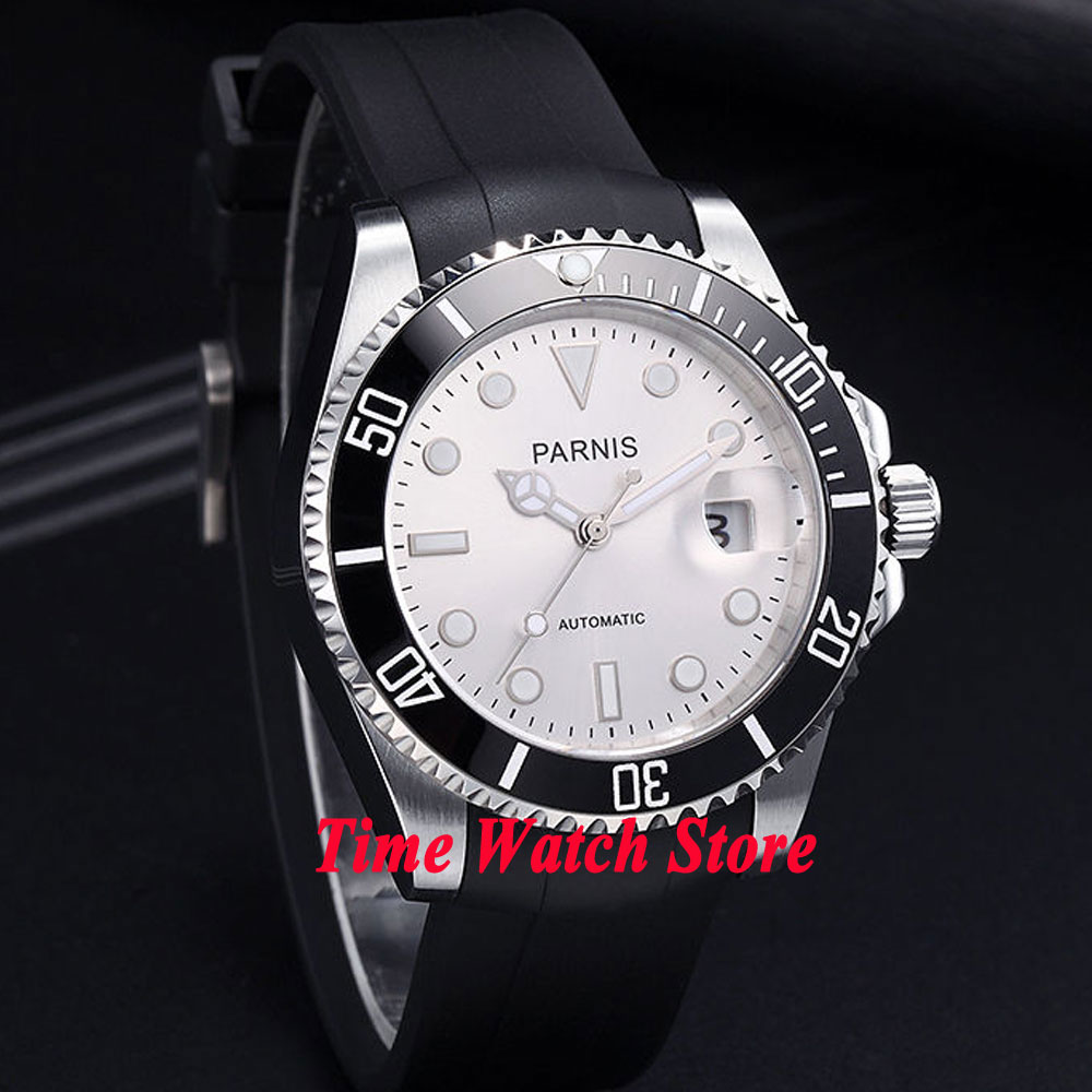 лучшая цена Parnis 40mm white dial luminous sapphire glass black ceramic bezel rubber strap 21 jewels MIYOTA Automatic movement watch 462