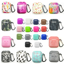 Silicone Protective Case Holder Shell Cover w/Carabiner Keychain for Apple AirPods Air Pods Wireless Earphone Accessory cases