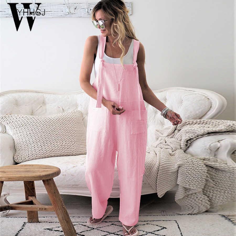 WYHHCJ 2019 Комбинезоны для женщин плюс размер женщин u-образный вырез без рукавов свободные с карманами мешковатый длинный комбинезон женский комбинезон