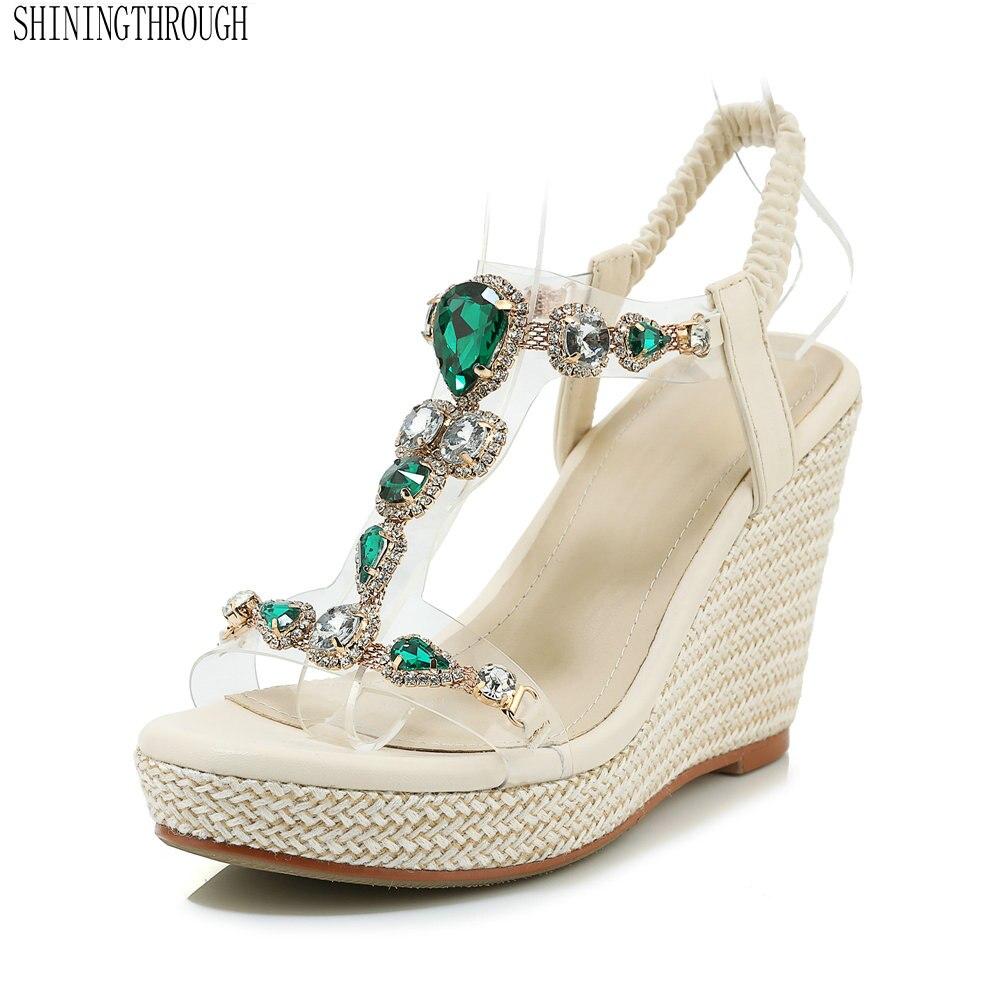 Ayakk.'ten Yüksek Topuklular'de Yeni Yaz Kadın ayakkabı Sandalet Takozlar kristal Toka Platformları siyah yeşil Tatlılar Moda Parti Bayanlar Kadın'da  Grup 1
