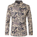 Men Shirts Slim Fit Fashion cotton shirts Casual Flower Printed Long Sleeve Plus Size Brand Shirts size XS-3XL Z1026-Euro size