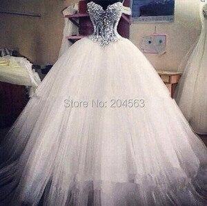Image 1 - משלוח חינם מתוקה חרוזים שמלות כלה טול 2016 שמלת כלה