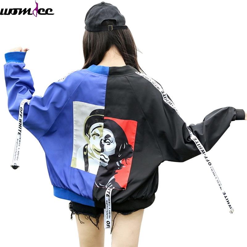 2017 Autumn Bomber Jacket Women Men couple Long Sleeve Basic Coats Casual Thin loose Outerwear Korean Hip hop Bomber Jackets