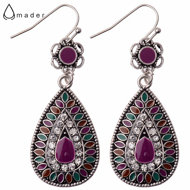 7217b8fcb Amader New Arrival 9 Colors Enamel Tear Drop Shaped Rhinestone Bohemia Style  Earrings Silver Color Shard Flower Drop Earrings