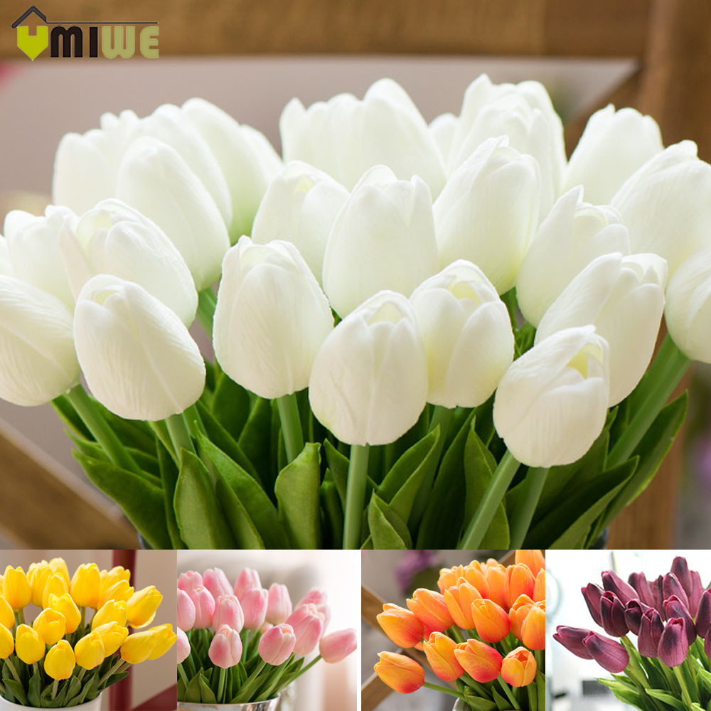 Umiwe 10\/30pcs PU Fake Artificial Silk Tulips Flores Artificiales Bouquets Party Artificial
