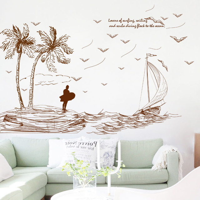 Fundecor Summer Island Wall Stickers Home Decor Living Room Bedroom Kitchen Baby