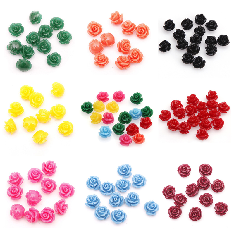 Wholesale 10mm Mixed 20pcs Manmade Rose Flower Red Coral Beads Charm for Jewelry Making 10 colors