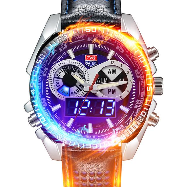 2016 Marca TVG Mens Relógios de Alta Qualidade pulseira de Couro Moda Relógio De Pulso Para Homens Analógico Digital dupla Afixação À Prova D' Água relojes