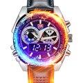 2016 Marca TVG Mens Relojes correa de Cuero de Moda A Prueba de agua de Alta Calidad Reloj de Pulsera Para Hombres Analógico Digital de doble Pantalla de relojes