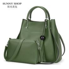 SUNNY SHOP Composite Bag 2 Bag/Set  Fashion Designer Women Bag With Small Messenger Bag  High Quality PU Leather TasselHandbags