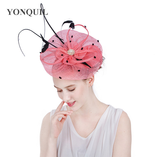 Top quality sinamay royal ascot derby big pink fascinator hat women party  wedding hair accassories with f10122c3b89