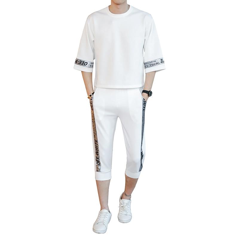 Fashion and leisure new style Hip Hop Printed Short sleeve T-shirt mens sportswear men Sweat Suit 2 piece set plus size S-5XL