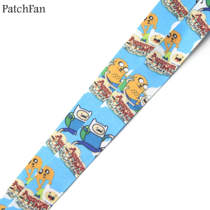 Patchfan Adventure Time cartoon keychain lanyard webbing ribbon neck strap fabric para id badge holders necklace accessory A0754 in Webbing from Home Garden