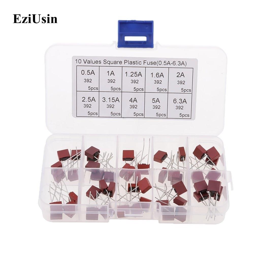 цена на 10values 50pcs Square Plastic Fuse 392 0.5A 500mA 1A 1.25A 1.6A 2A 2.5A 3.15A 4A 5A 6.3A / 250V for LCD TV Power Board Fuse Kit