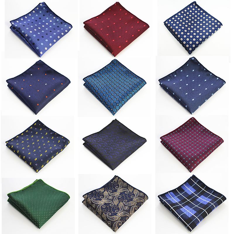 RBOCOTT Classic Dot Pocket Squares Fashion Plaid Handkerchief 22cm*22cm Floral And Paisley Hanky Towel For Business Party