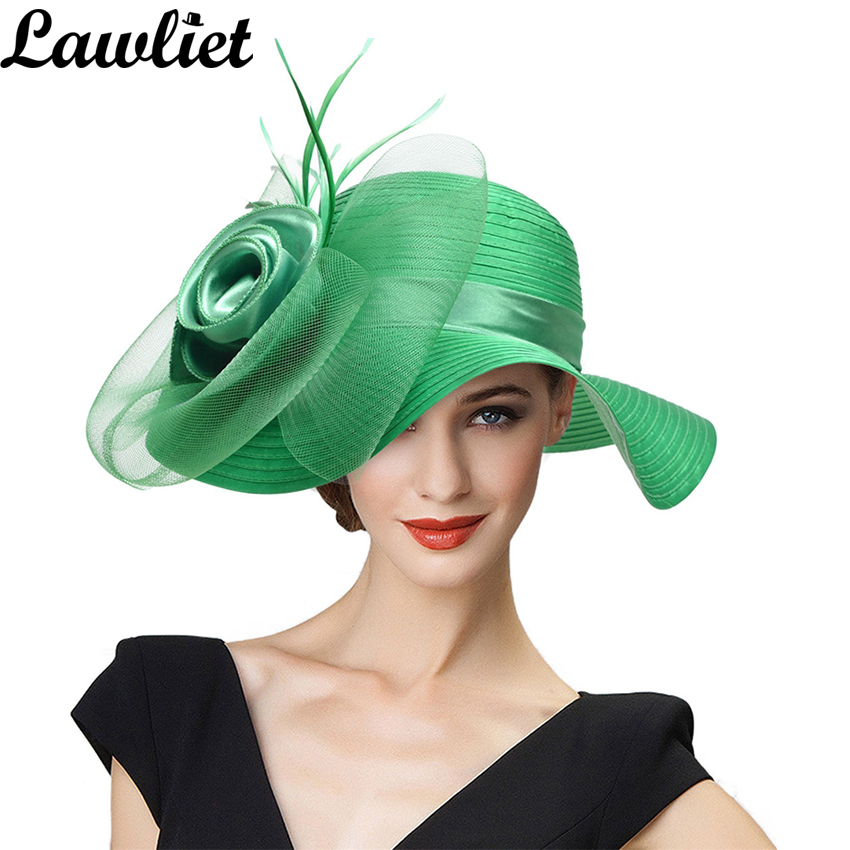Summer Hats For Women Solid Satin Feather Floral Wide Brim  Hats  Floppy Hats For Kentucky Derby Church Tea Party Dress A433