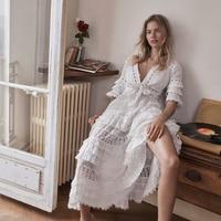 Corsair жабо уровня Длинные Белое платье Для женщин 100% хлопок Глубокий V шеи Ruffled Половина рукава Кружева с бахромой летние платья с поясом