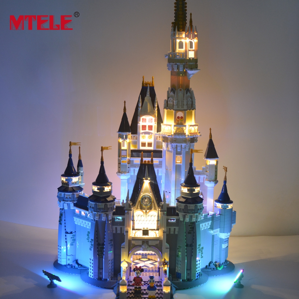 MTELE LED Light Block Set For Cinderella Princess Castle City Building Model Block Compatible with Lego 71040 lepine 16008 cinderella princess castle 4080pcs model building block toy children christmas gift compatible 71040 girl lepine
