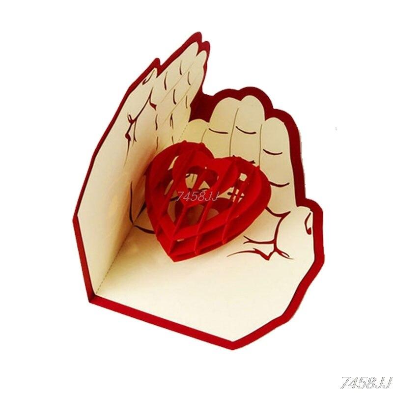3d pop up открытка любовь в руках рождения удачи Валентина Рождество G03 Прямая поставка ...