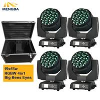 Caja de vuelo + 4 unids/lote abeja grande ojo led movimiento cabeza zoom función DMX 512 Luz de lavado RGBW 4 en 1 19x15W efecto de luz|Efecto de iluminación de escenario| |  -