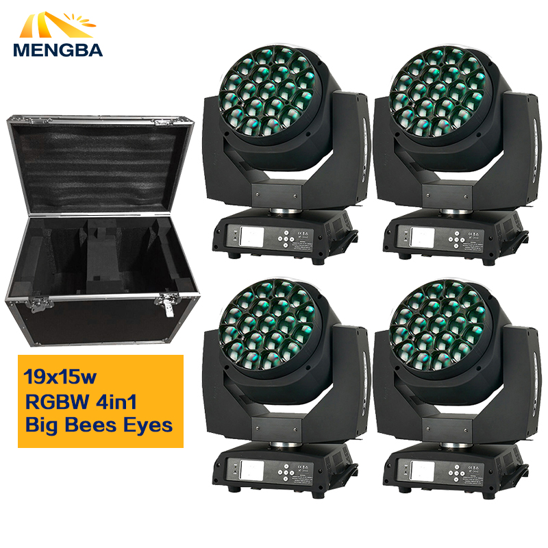 Flight Case+4pcs/lot Big Bee Eye led moving head zoom function DMX 512 wash light RGBW 4IN1 19x15W Beam effect light цена
