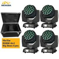 Flight Case+4pcs/lot Big Bee Eye led moving head zoom function DMX 512 wash light RGBW 4IN1 19x15W Beam effect light
