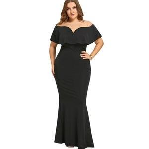 a191b105adf7 Gamiss Women Black Long Plus Size Ruffle Dress For Vestidos
