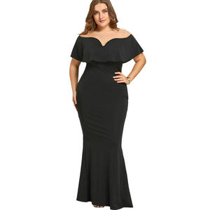9fa54f96ee0 Gamiss Women Black Long Plus Size Ruffle Dress For Vestidos