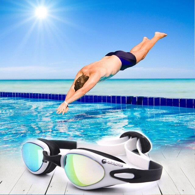 Natación para adultos Gafas espejo HD impermeable UV gel ...