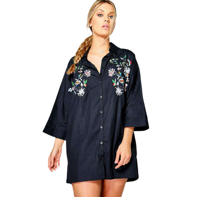 Black white floral embroidered plus size shirt dresses for women ladies  oversize loose long long sleeve button down blouses tops d39552412