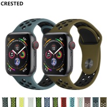 CRESTED strap For Apple Watch band 4 42mm/38mm 3 iwatch band 44mm/40mm correa Sport silicone bracelet belt watch Accessories 2/1(China)