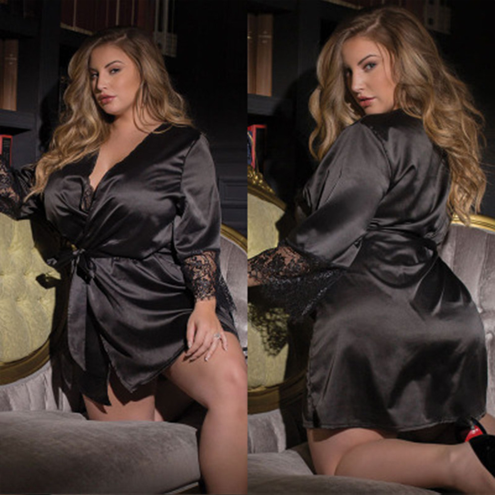 <font><b>Sexy</b></font> <font><b>Lingerie</b></font> Plus Size <font><b>Satin</b></font> Lace Black Kimono Intimate Sleepwear Robe <font><b>Sexy</b></font> Night Gown <font><b>Women</b></font> <font><b>Erotic</b></font> <font><b>Underwear</b></font> image