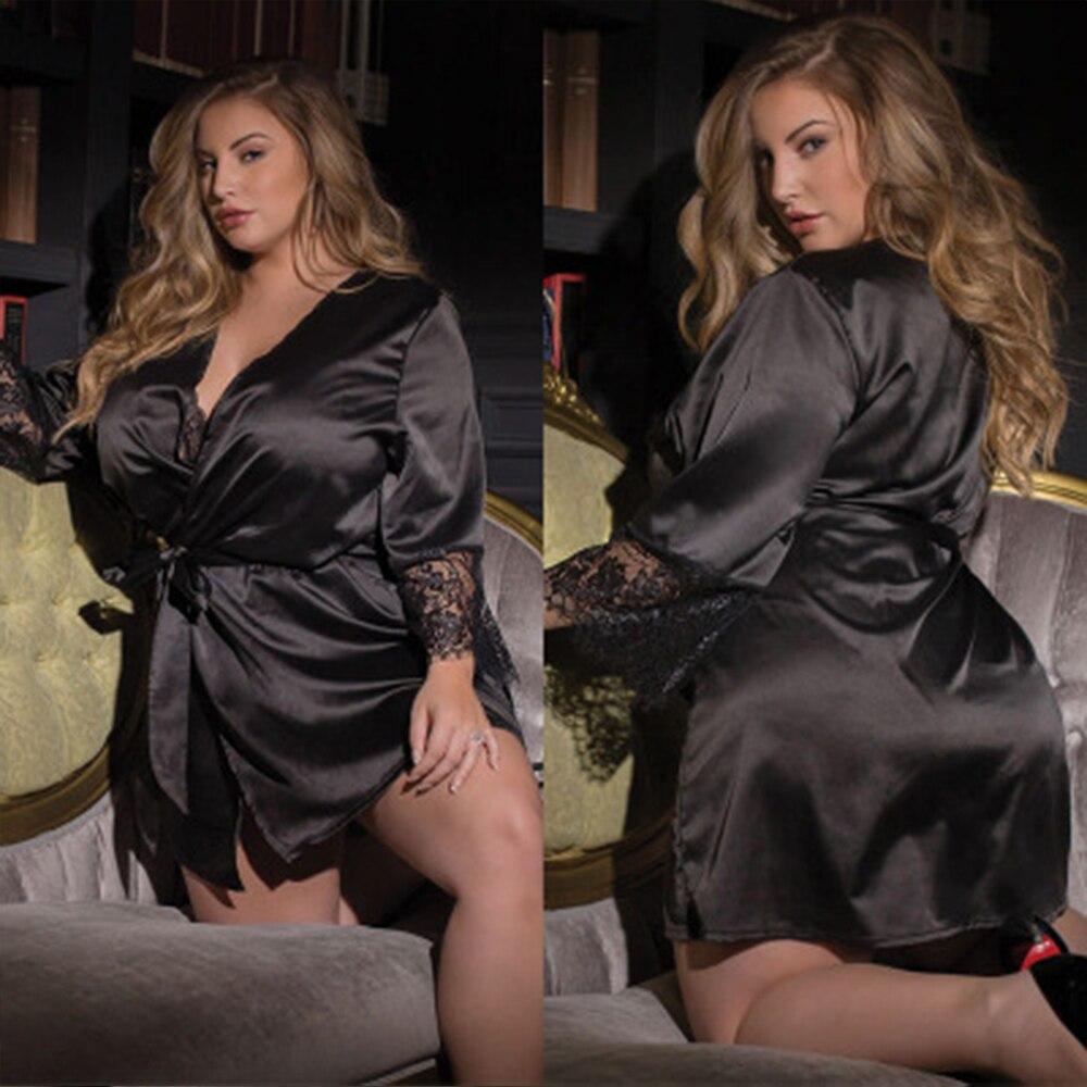 Sexy Plus Size Lingerie Satin Black Lace Kimono Intimate Pijamas Robe Noite Vestido Sexy Mulheres Roupa Interior Erótica