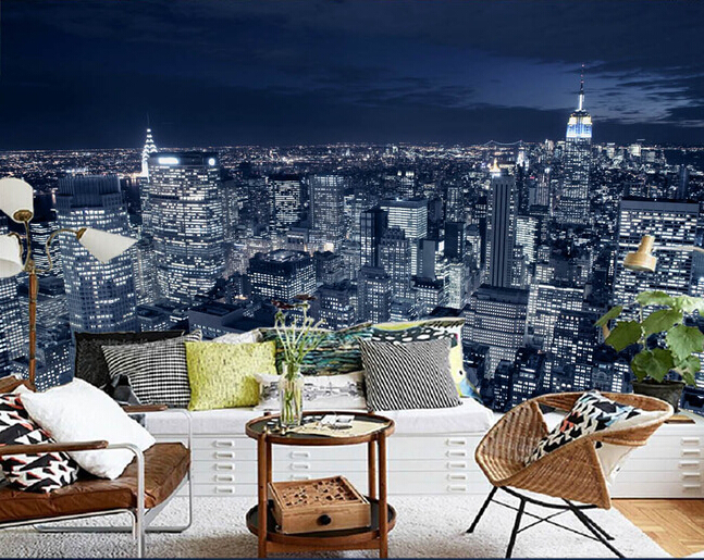 Custom Photo Wallpaper Black And White New York City Night Scene For The Living Room Bedroom Tv Background Wall Papel De Parede In Wallpapers From Home