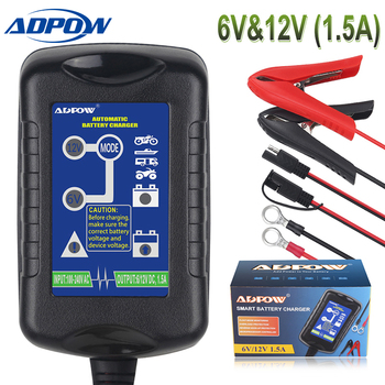 ADPOW 6V 12V Intelligent Motorcycle Car Battery Charger For AGM GEL WET VRLA Lead Acid Battery Charging 100-240V US EU Plug