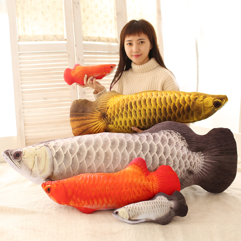 Candice guo plush toy stuffed doll emulational 3D pattern Arowana Golden Dragon fish Scleropages formosus bed pillow cushion 1pc candice guo funny creative simulational chinese chess plush toy cushion pillow birthday gift 1pc