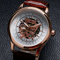 Nova moda de luxo marca Forsining mecânico relógio de pulso dos homens pulseira de couro esporte militar assista Casual presentes W18180