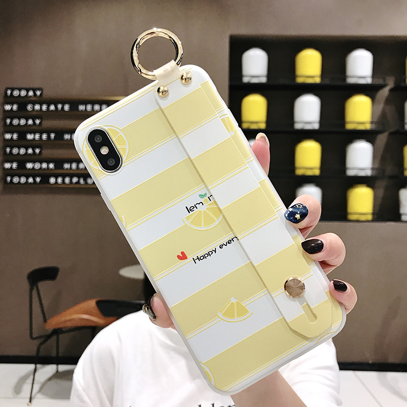 SoCouple Wrist Strap Phone Case For iphone Xs max Case For iphone X Xs XR 6 6S 7 8 plus Fruit Lemon Pattern Soft TPU Case Cover (12)