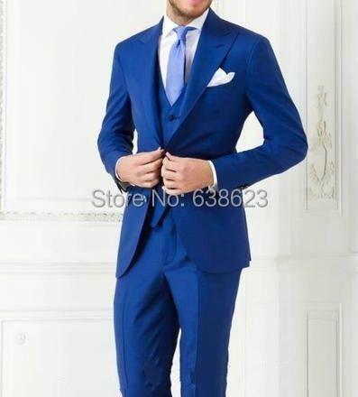 New Arrivals Two Buttons Royal Blue Groom Tuxedos Peak Lapel Groomsmen Best Man Suits Mens Wedding Suits (Jacket Pants Vest Tie) NO-1033_meitu_12.jpg
