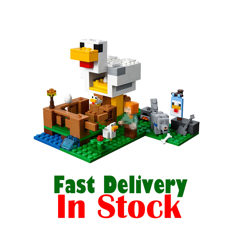 Lepin 2018 The Chicken Coop Alex Dog Minecraft My World Building Blocks Bricks diy Toys Educational For Kids 21140INGly lepin minecraft 504pcs the forest secret my world figures building blocks bricks fun castle house toys for children gifts