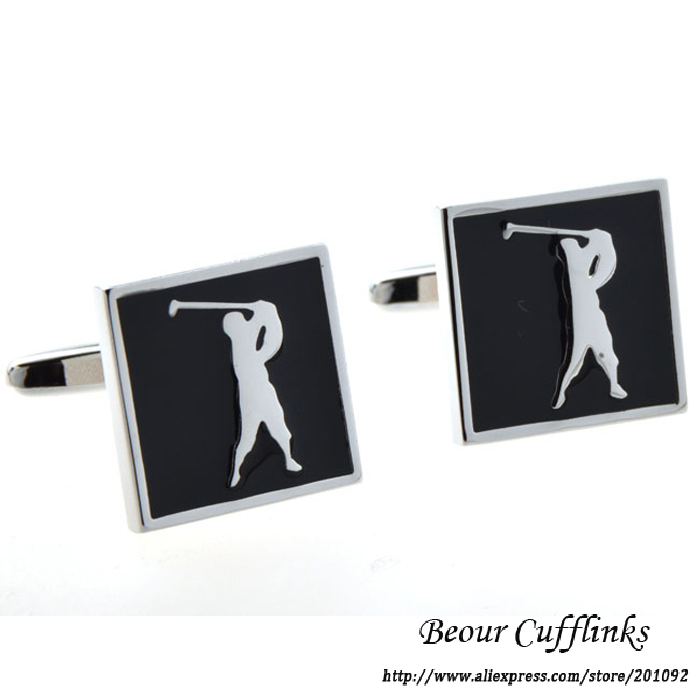Hot Sale High Quality Mens Jewelry Black Square Golf Player cufflinks for shirt cuff link brand
