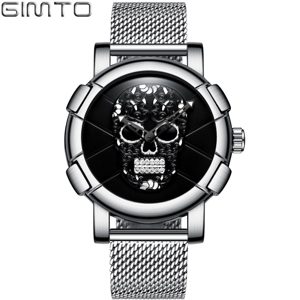 GIMTO Fashion Stylish Skull Men Watch 3D Pattern Design Rhinestone Skeleton Casual Male Wristwatch Japan Quartz Waterproof Clock stylish plastic material back case cover with 3d vary picture design skull man pattern