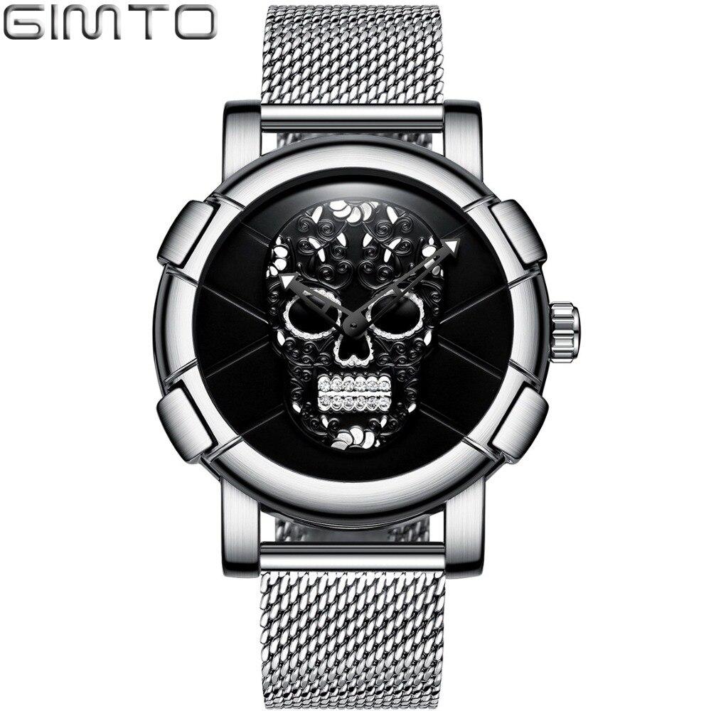 GIMTO Fashion Stylish Skull Men Watch 3D Pattern Design Rhinestone Skeleton Casual Male Wristwatch Japan Quartz Waterproof Clock stylish tartan pattern red matching design 6cm width tie for men