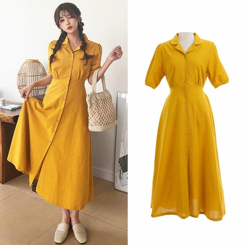 Retro Lady Style a Line Long Dress Puff Sleeve Slim Waist Long Dress Summer Elegant Robe Longue Vestido Largo Vestiti Lunga 1