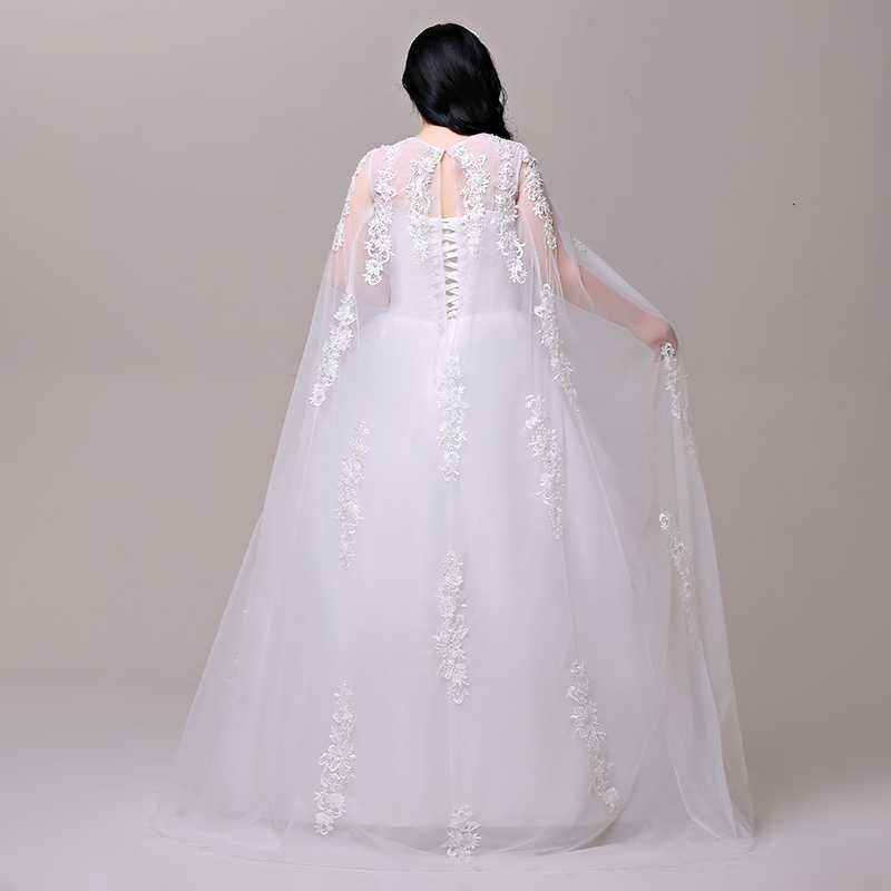 Jancember Plus Ukuran Pernikahan Gaun Ilusi Leher O Tulle Lengan Terbuka Lubang Kunci Renda Kembali Panjang Selendang Vestido De noiva