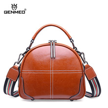 GENMEO New Genuine Leather Handbag Women Luxury Shoulder Bag with Two Shoulder Strap Cowhide Leather Tote Bag Bolsa Feminina недорого