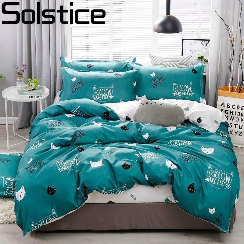 Solstice Pillowcase Bedding-Sets Bed-Cover Cat-Head Linens Green-Printing Cartoon Children/kid