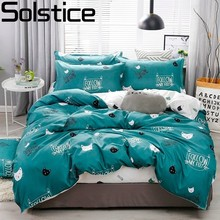 Solstice Cartoon green Printing cat head Children/kid Bedding Sets Duvet Cover Bed Sheet Pillowcase Linens Bedclothes