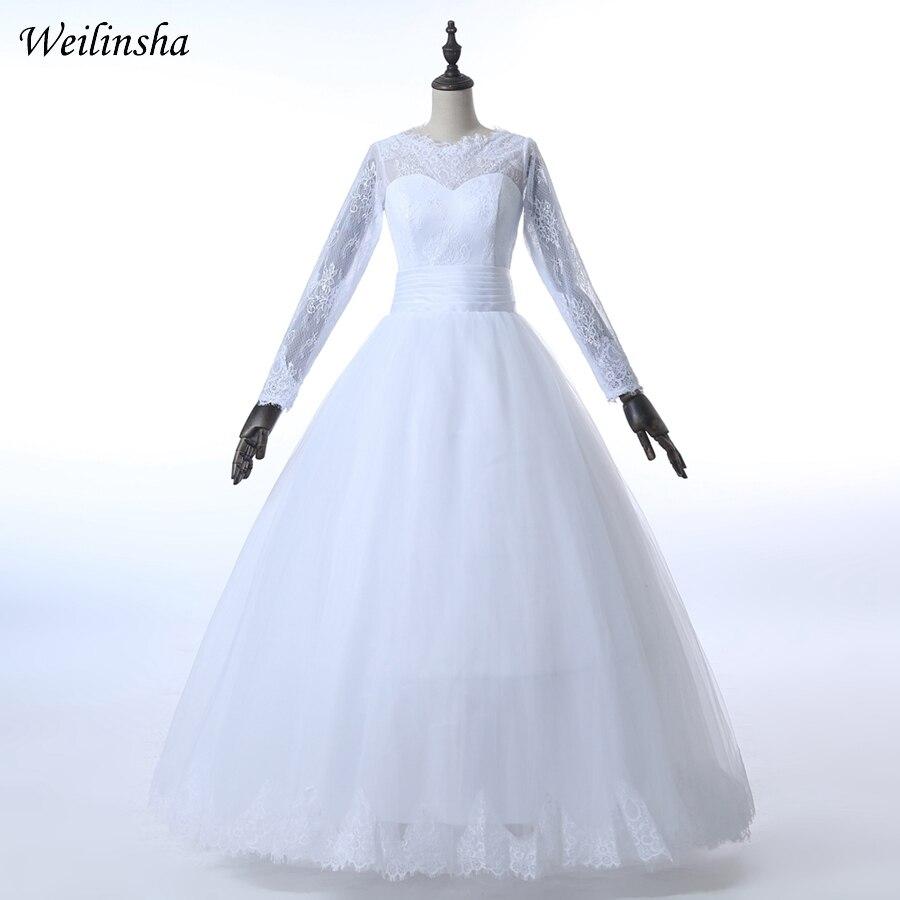 Weilinsha Fulle ujjú arab esküvői ruhák Kedves tüll csipke esküvői menyasszonyi ruhák Vestido de Noiva egyéni plusz méret